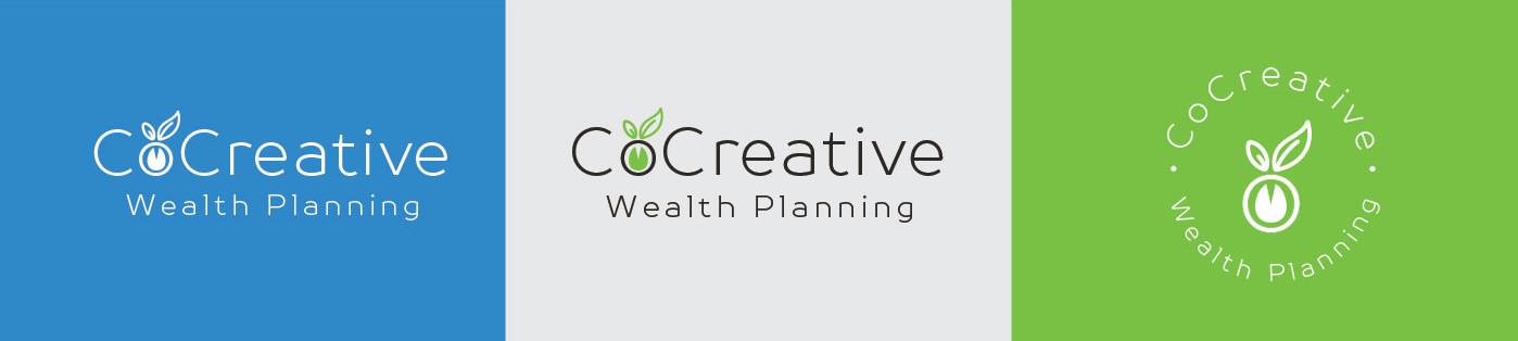 CoCreative Wealth Planning Logo | Blue + Green Logo Design for Financial Planning Business with Leaf Illustration Representing Growth