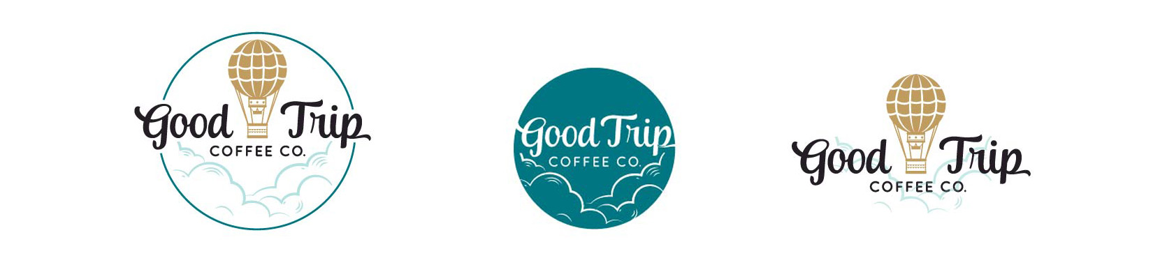 Good Trip Coffee Co. Logo | Circle Turquoise Hot Air Balloon Logo Design with Clouds Illustration with Submark and Alternative Layout