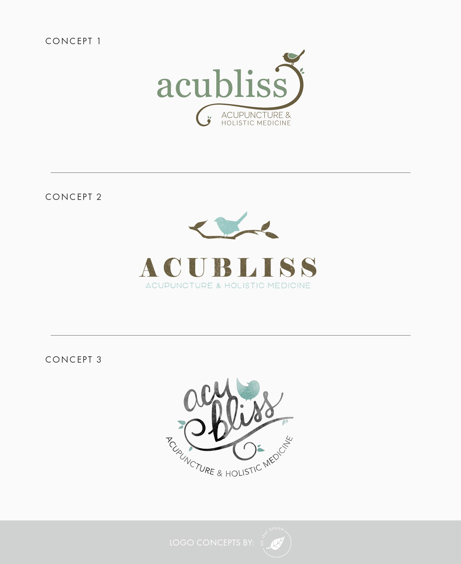 Logo Design Concepts for Acupunture Business Featuring Bird & Branch, Teal + Brown, Hand-Lettering