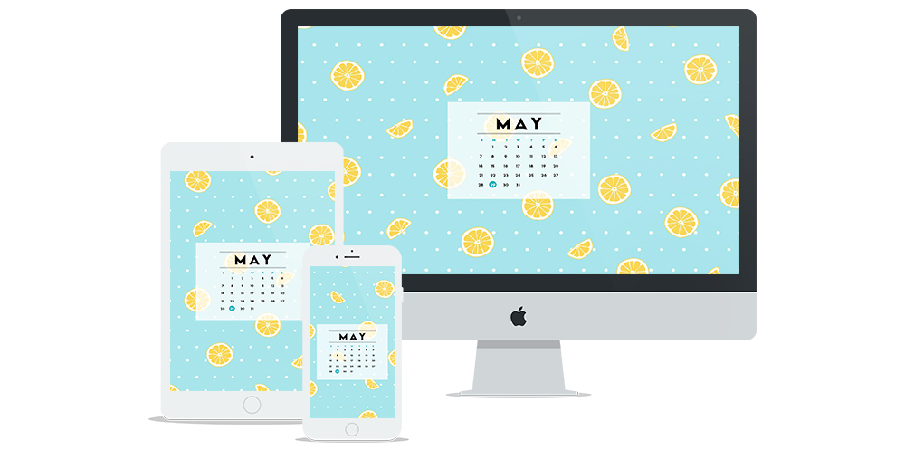 Free Wallpaper for May 2017 featuring a fresh blue + polka dot + lemon pattern and calendar