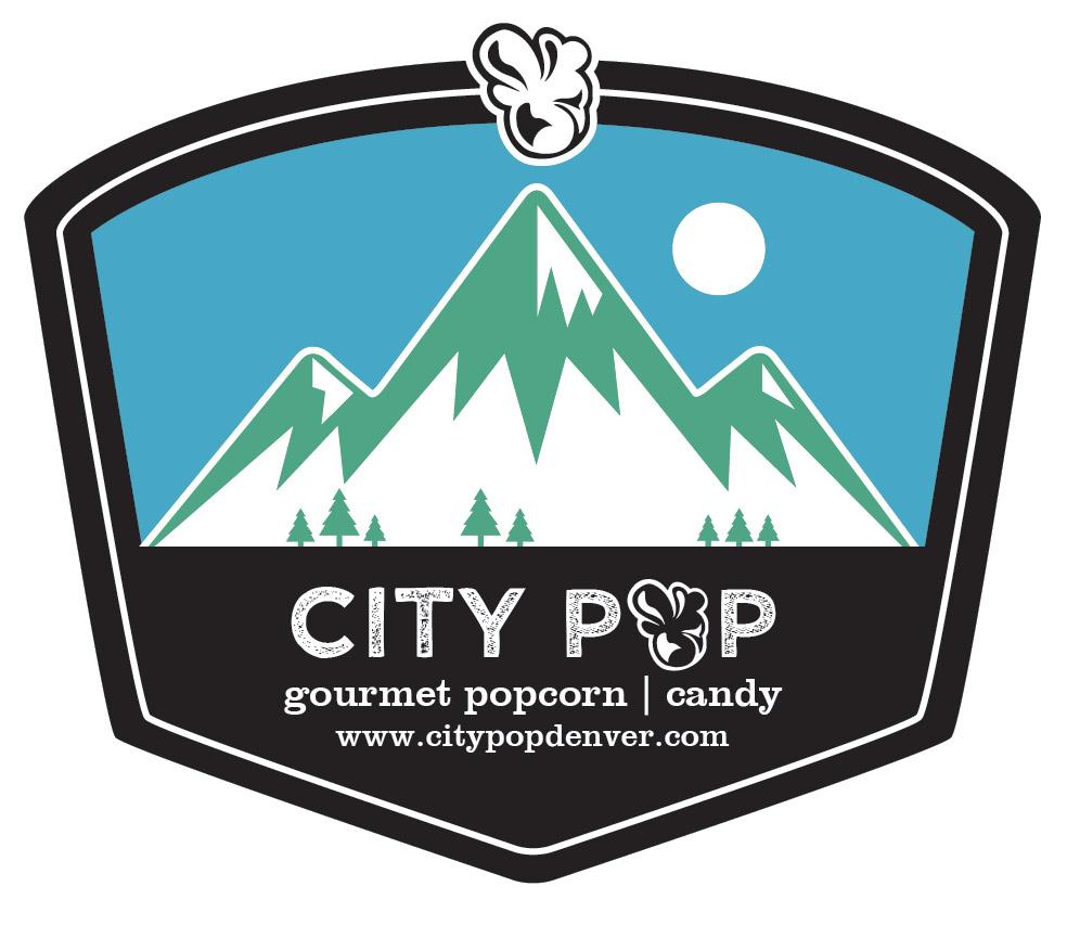 Popcorn Tin Label Design Featuring Mountain Illustration