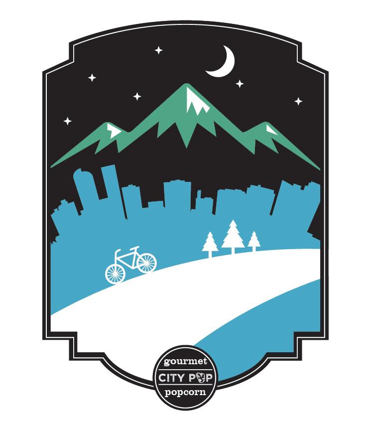 Popcorn Tin Label Design Featuring Mountains and Denver Skyline Illustration