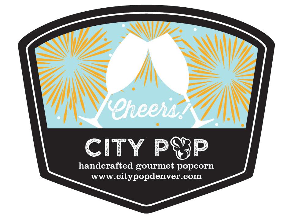 Popcorn Tin Label Design Featuring Cheers
