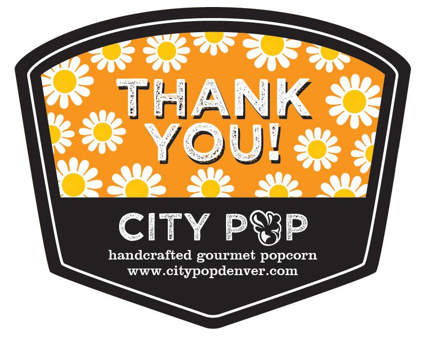 Popcorn Tin Label Design Featuring Daisies