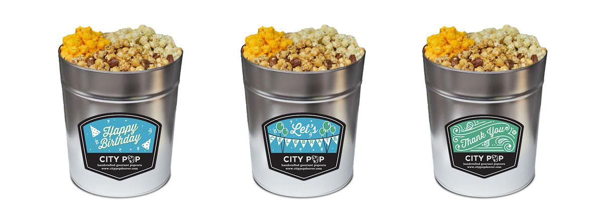 Popcorn Tin Label Design Featuring Custom Illustrations for Birthday, Celebration & Thank You