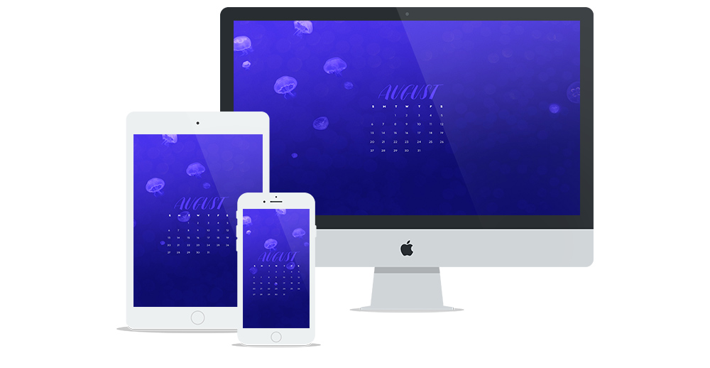 New Free Wallpaper for August with Deep Blue Ocean & Jellyfish Design Featuring a Calendar