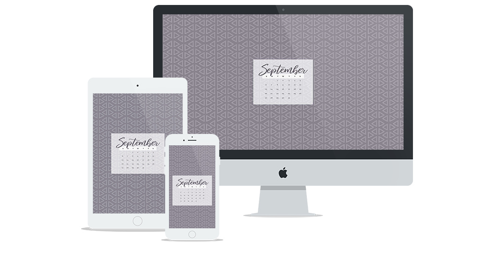 New Free Wallpaper for September with hand-drawn triangle pattern and calendar