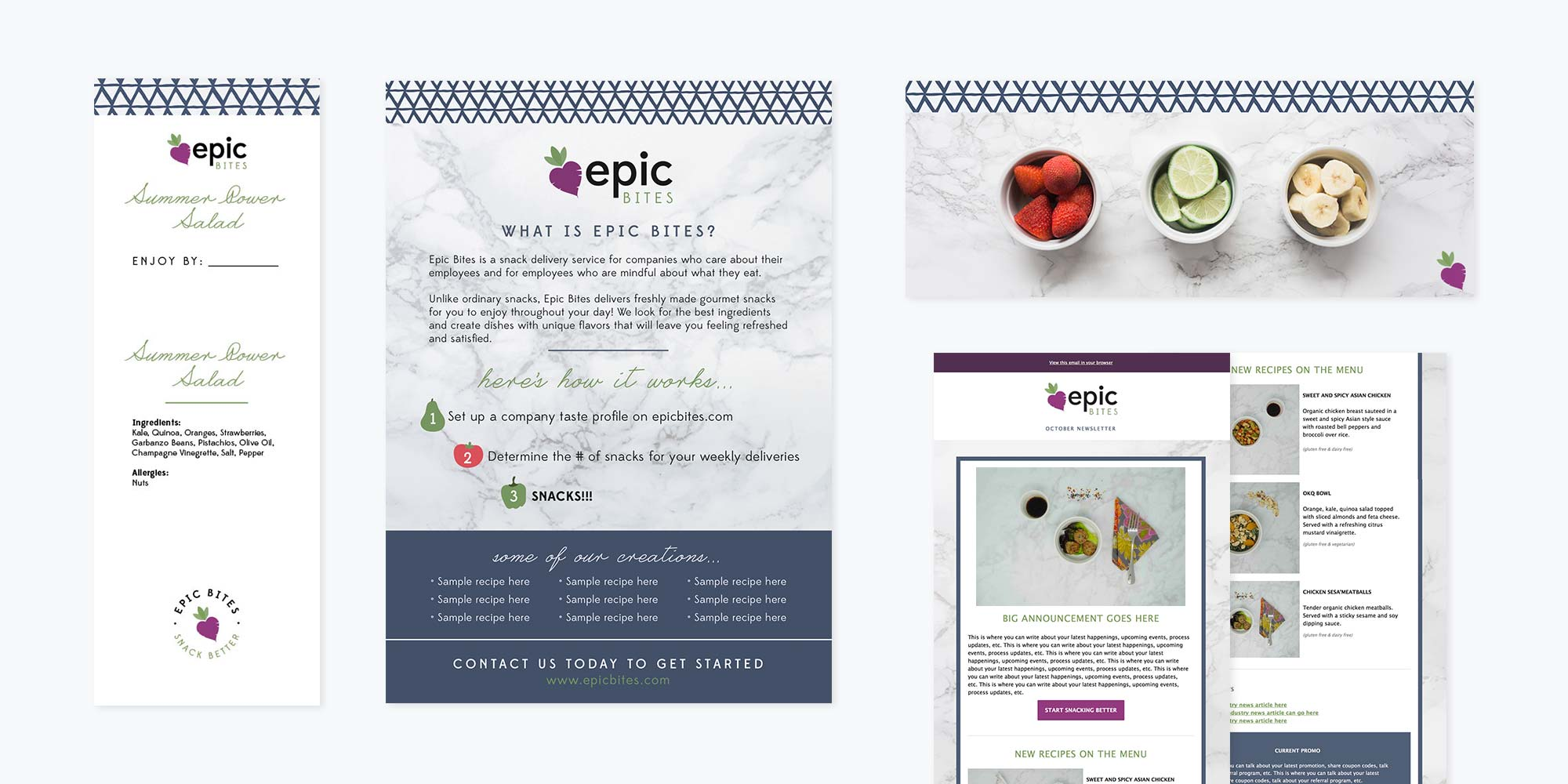 Epic Bites Logo + Brand Design   Label, Flyer and Email Template Design
