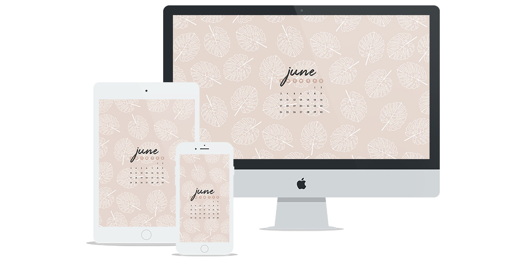 Free Wallpaper for June 2018 Featuring a Summery Blush Leaf Pattern & Calendar