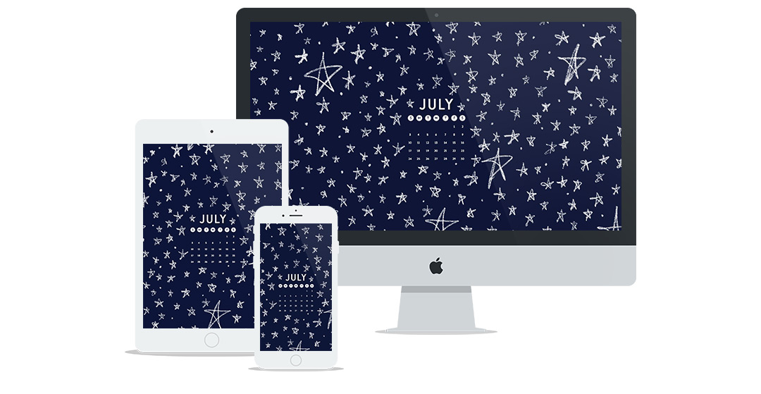 New Free Wallpaper Design for July 2018 | featuring hand-drawn illustrated star pattern and calendar | by Six Leaf Design