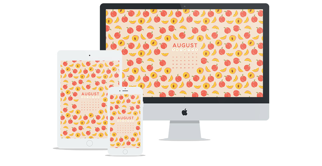 Free Wallpaper for August 2018 | Featuring Cute Peach Fruit Illustration Pattern Design