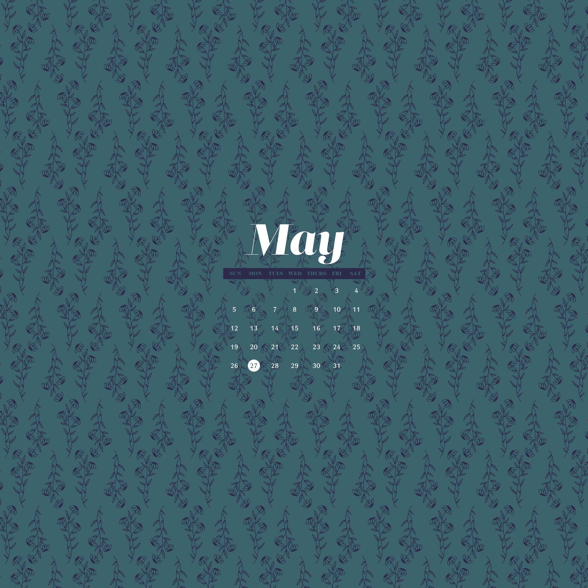 Free Wallpaper for May 2019 with illustrated floral pattern