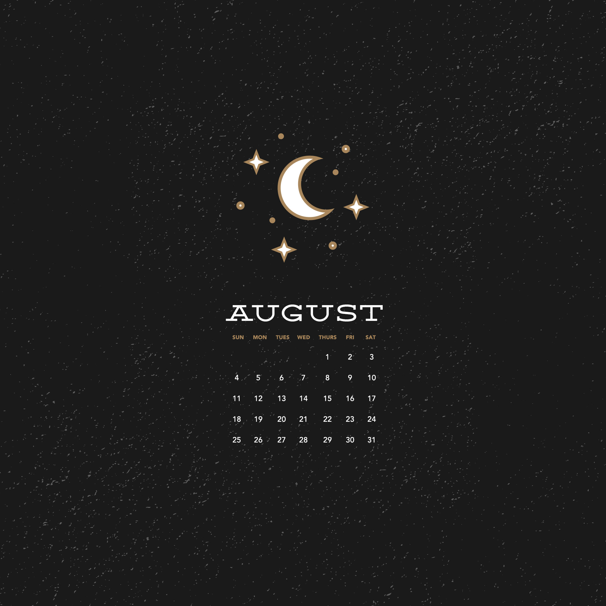 Free Wallpaper for August 2019 with moon and stars