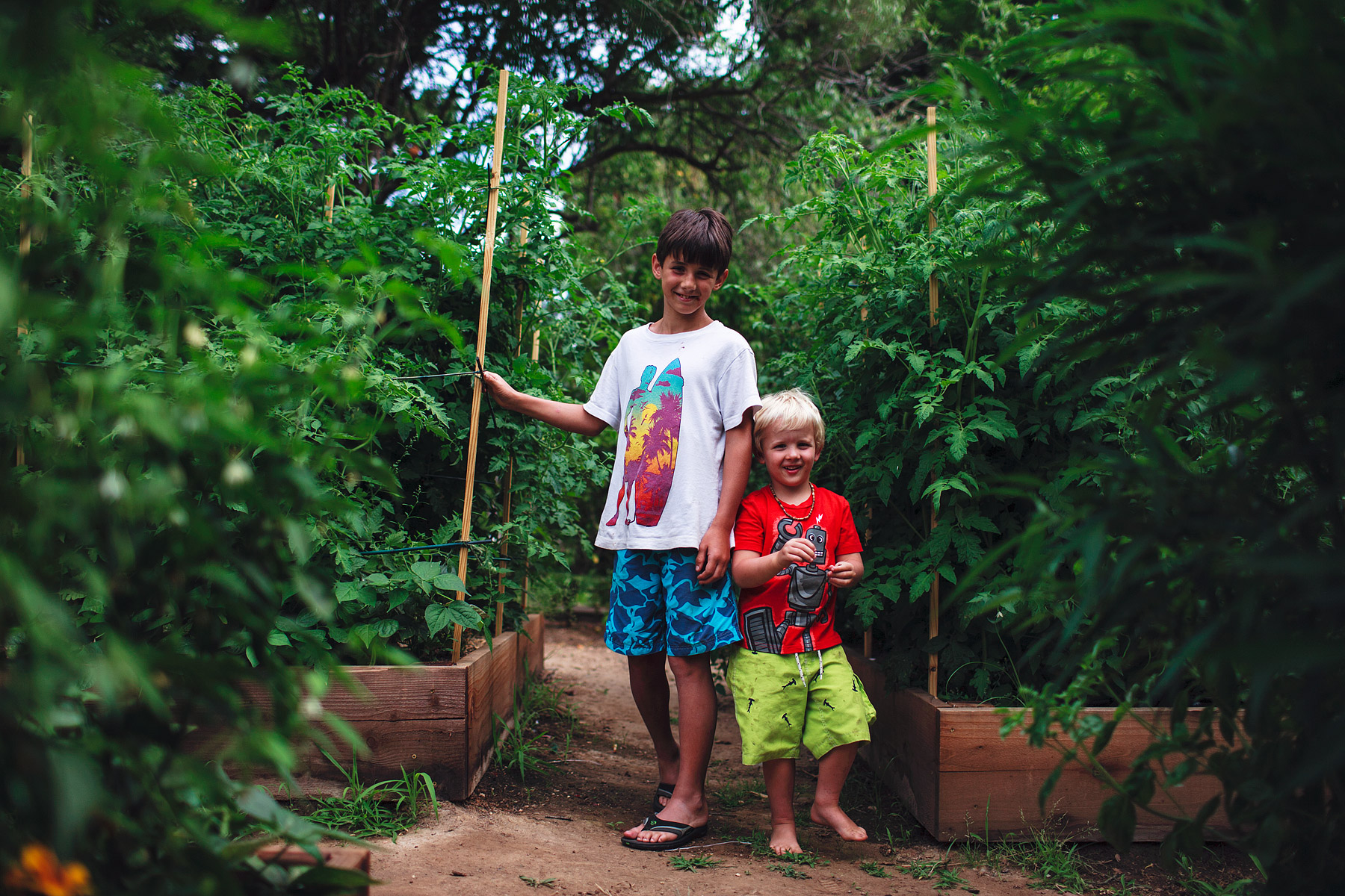 Hanging out in the organic garden