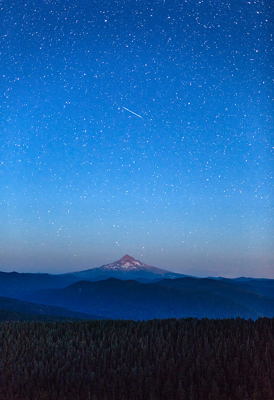 Shooting star above Mt Hood and Mt Hood national forest, Oregon