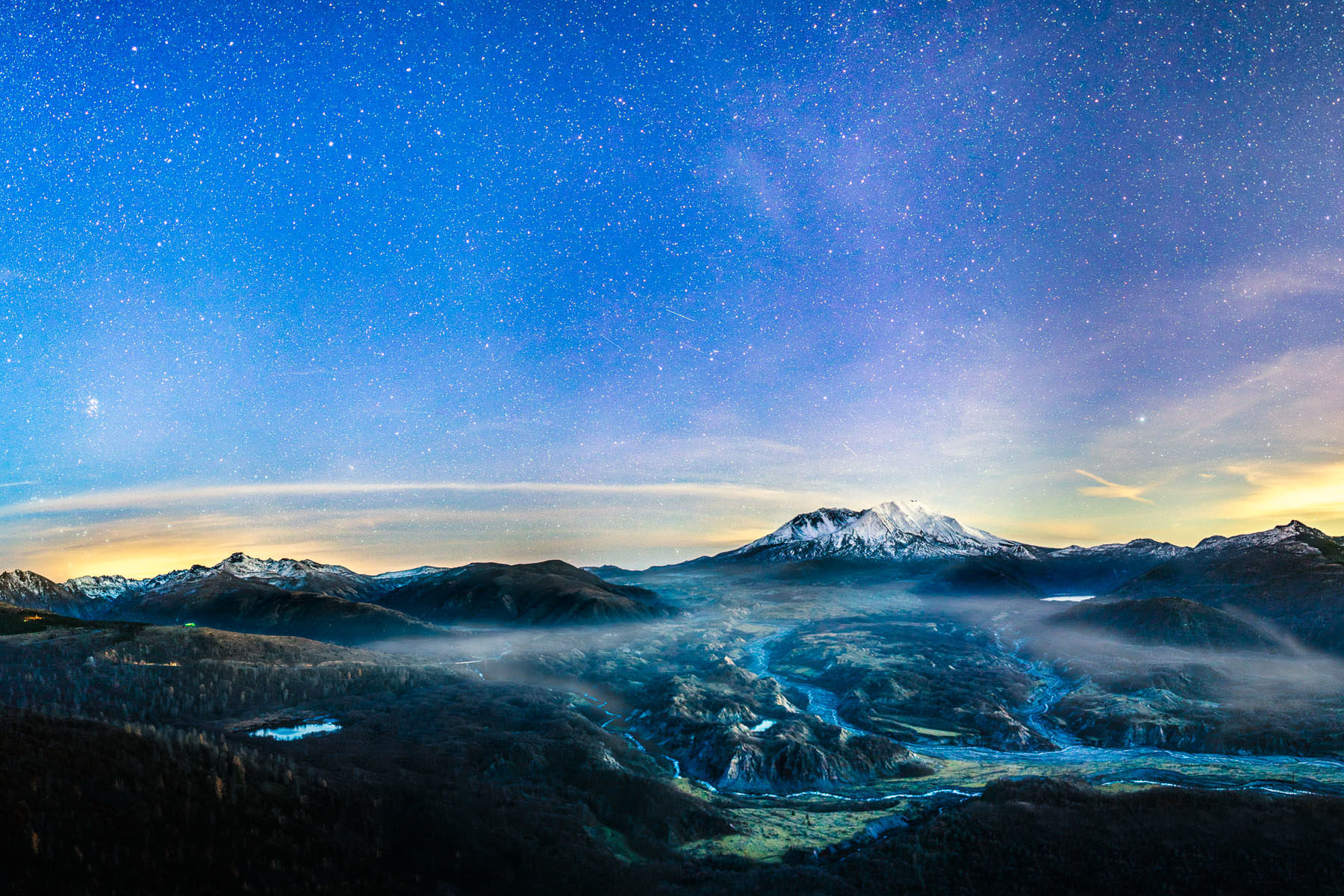 Mt. St. Helens and the blast zone in the fog under the stars
