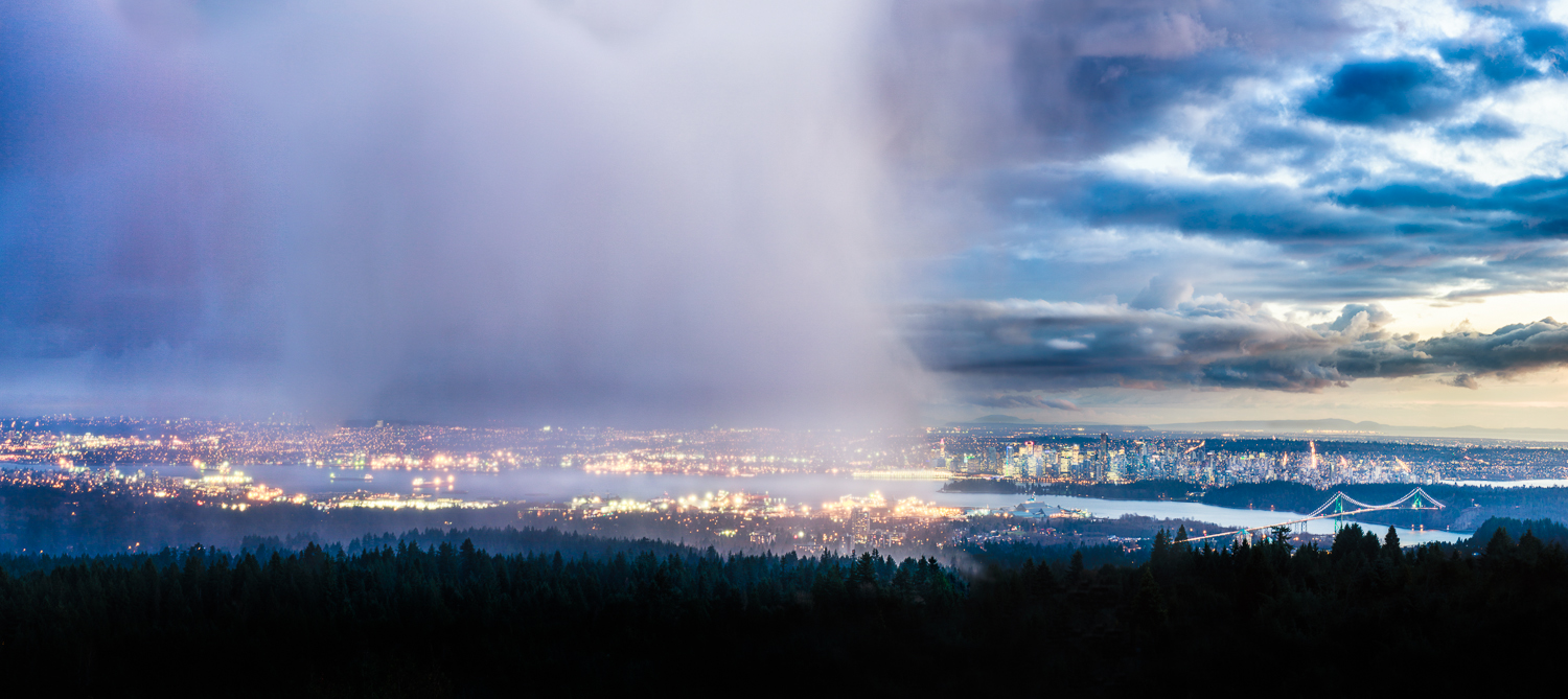 Storm moving over Vancouver, British Columbia