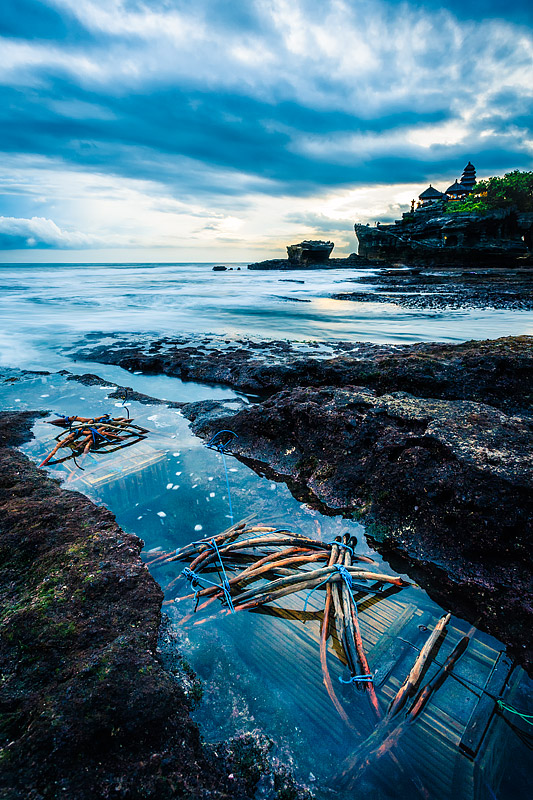 Crab Traps in the tide pools near Tanah Lot, Bali