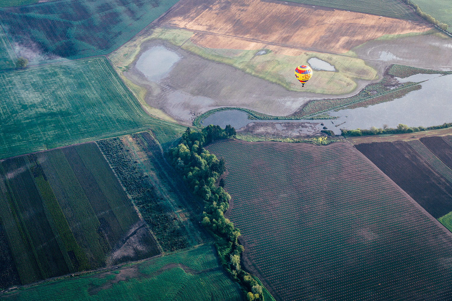Hot air balloon over St Paul, Oregon