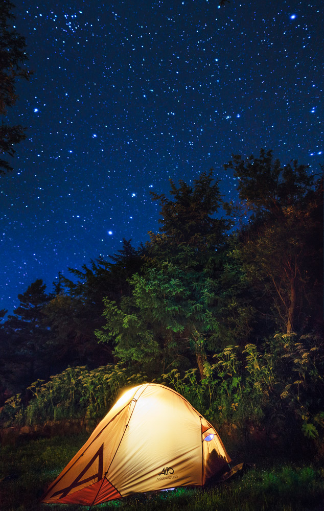 Tent under the stars at Humbug Mountain State Park, Oregon