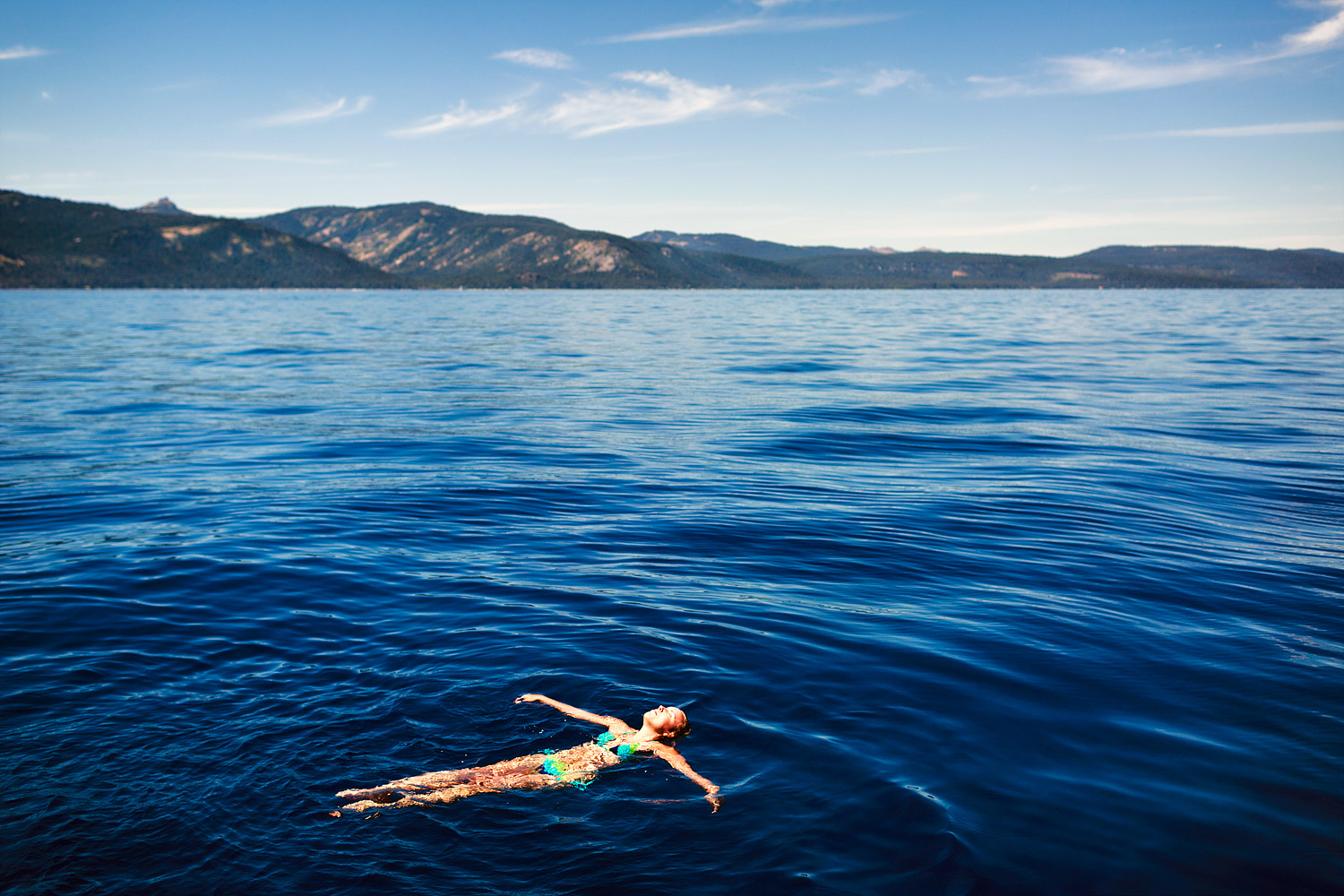 Floating in the middle of Lake Tahoe, Nevada.