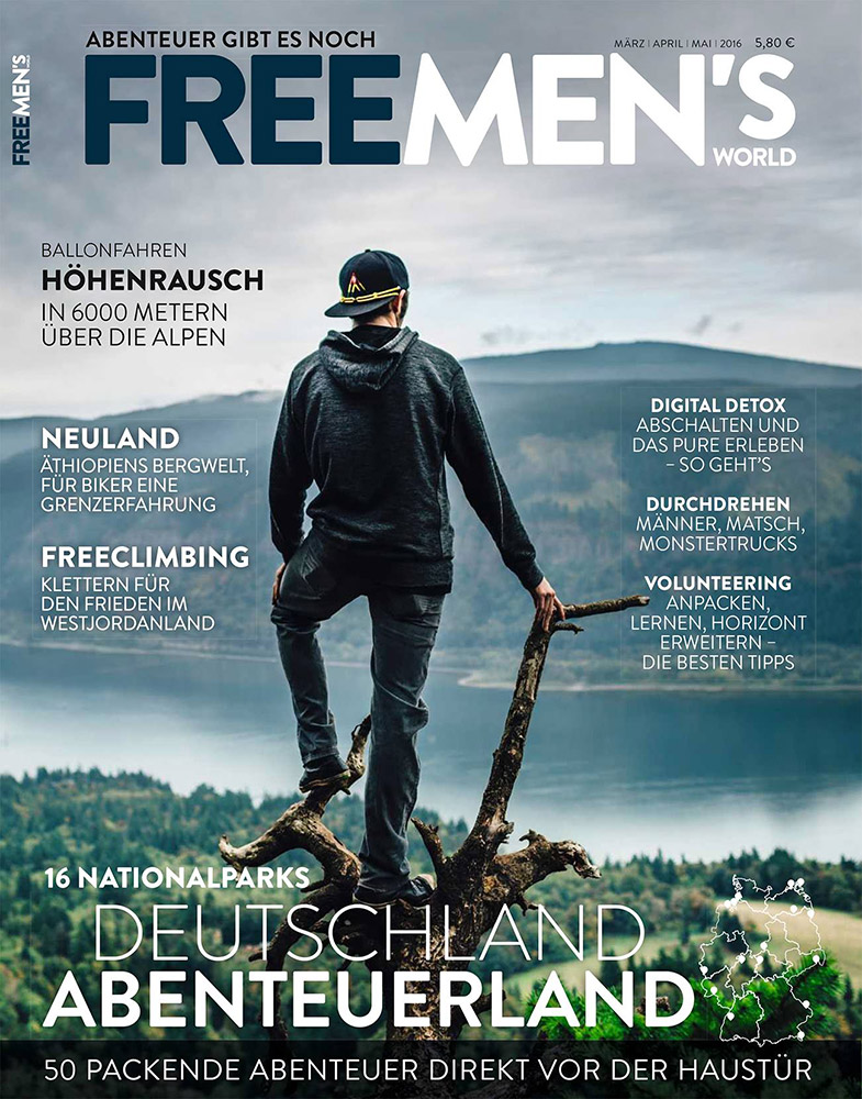 Perched on a tree at Cape Horn, Washington overlooking the Columbia River Gorge on the cover of German magazine Freemen's World.