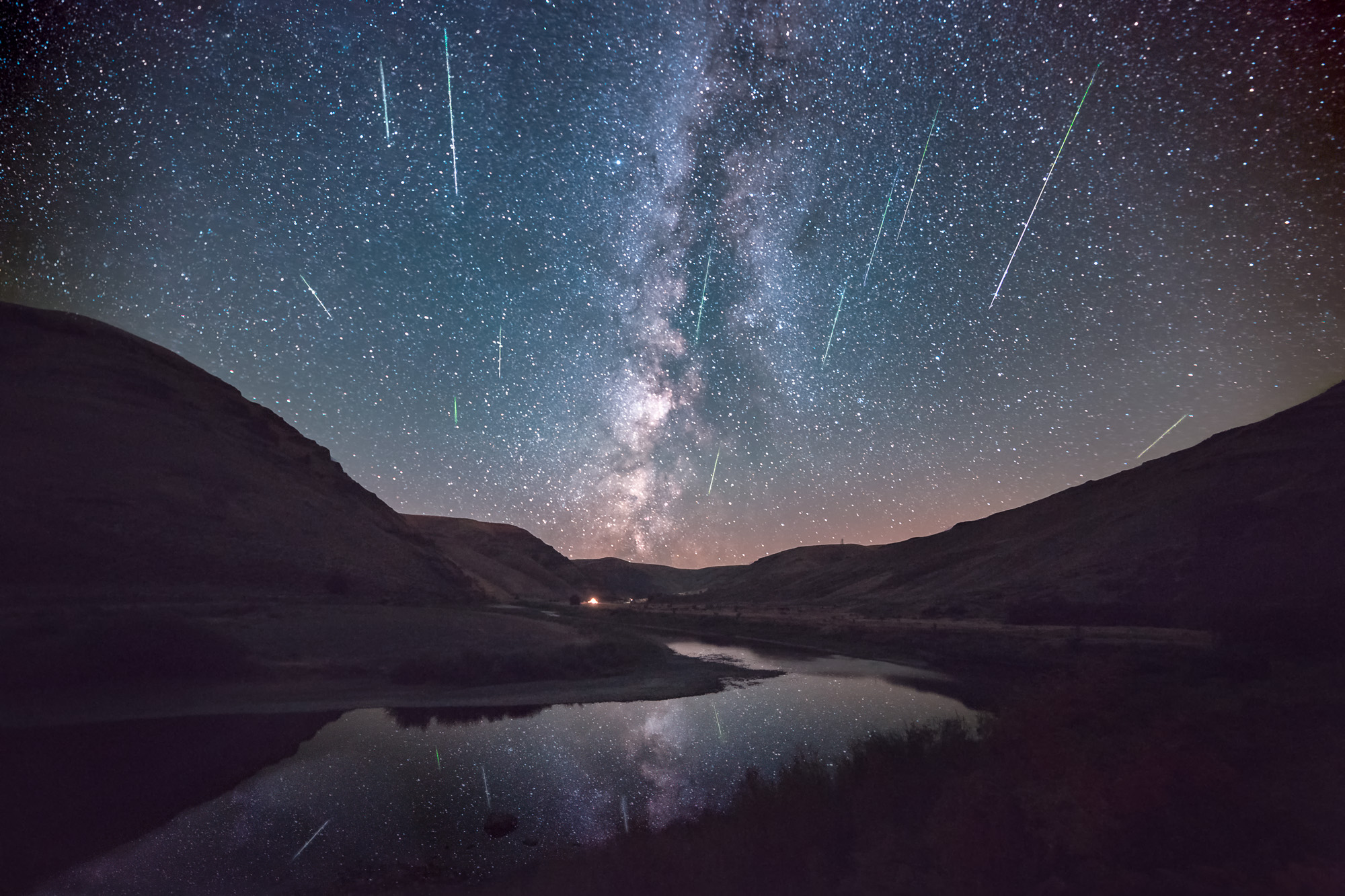 Milky Way rising above Cottonwood Canyon. OR and the John Day River with the streaking light of the Perseid Meteor shower