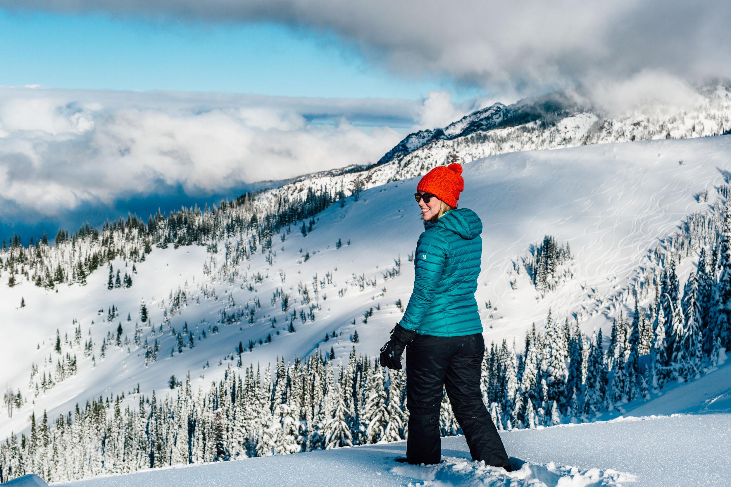 Gemma on the top of the snow covered mountain at Hurricane Ridge, Washington