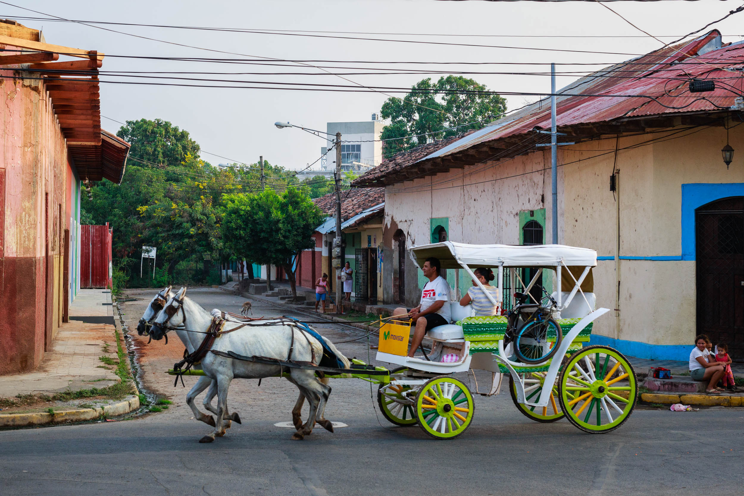 Horse carriage heading to Central Park in Granada, Nicaragua.