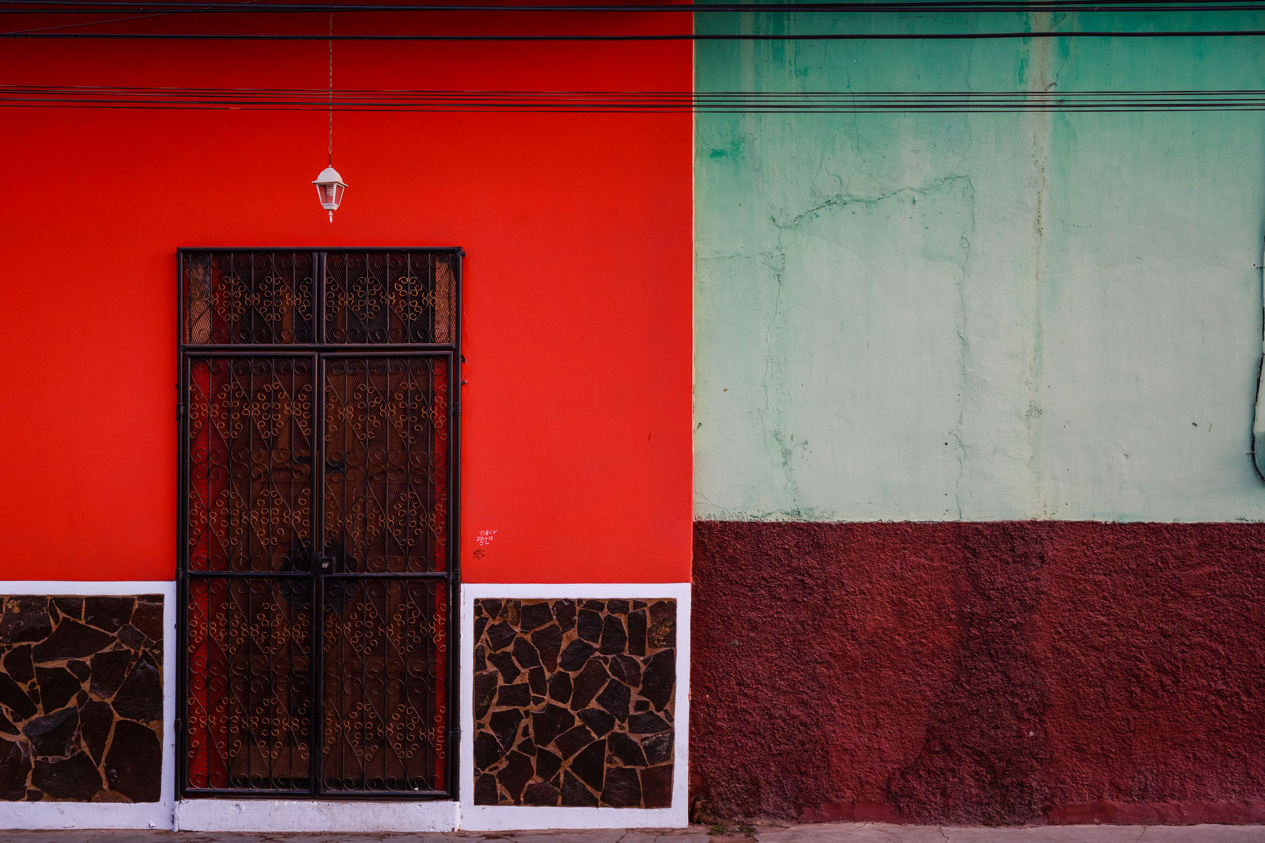 Bright and colorful doorway on the streets of Granada, Nicaragua