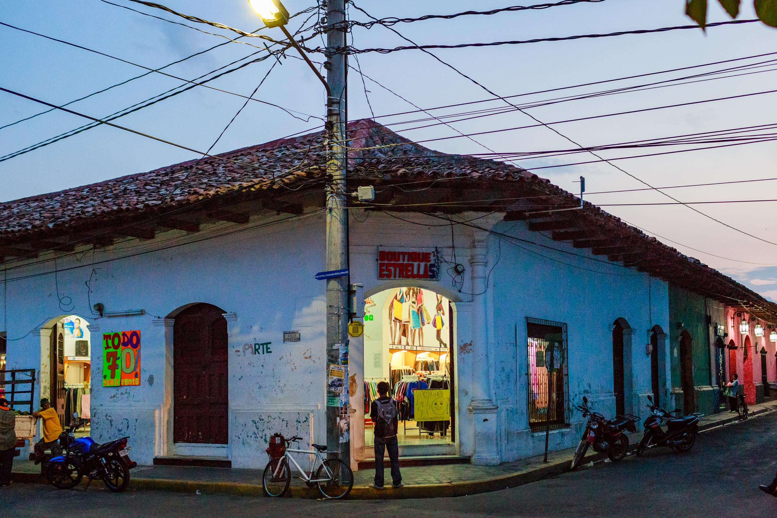 Twilight on the colorful streets of Granada, Nicaragua