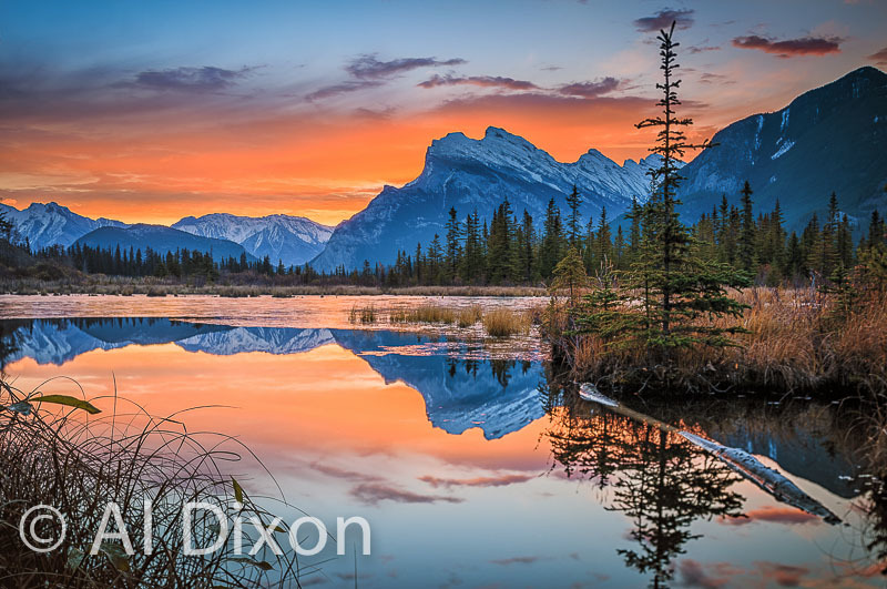 Fall sunrise over Mt Rundle and the Vermillion Lakes.