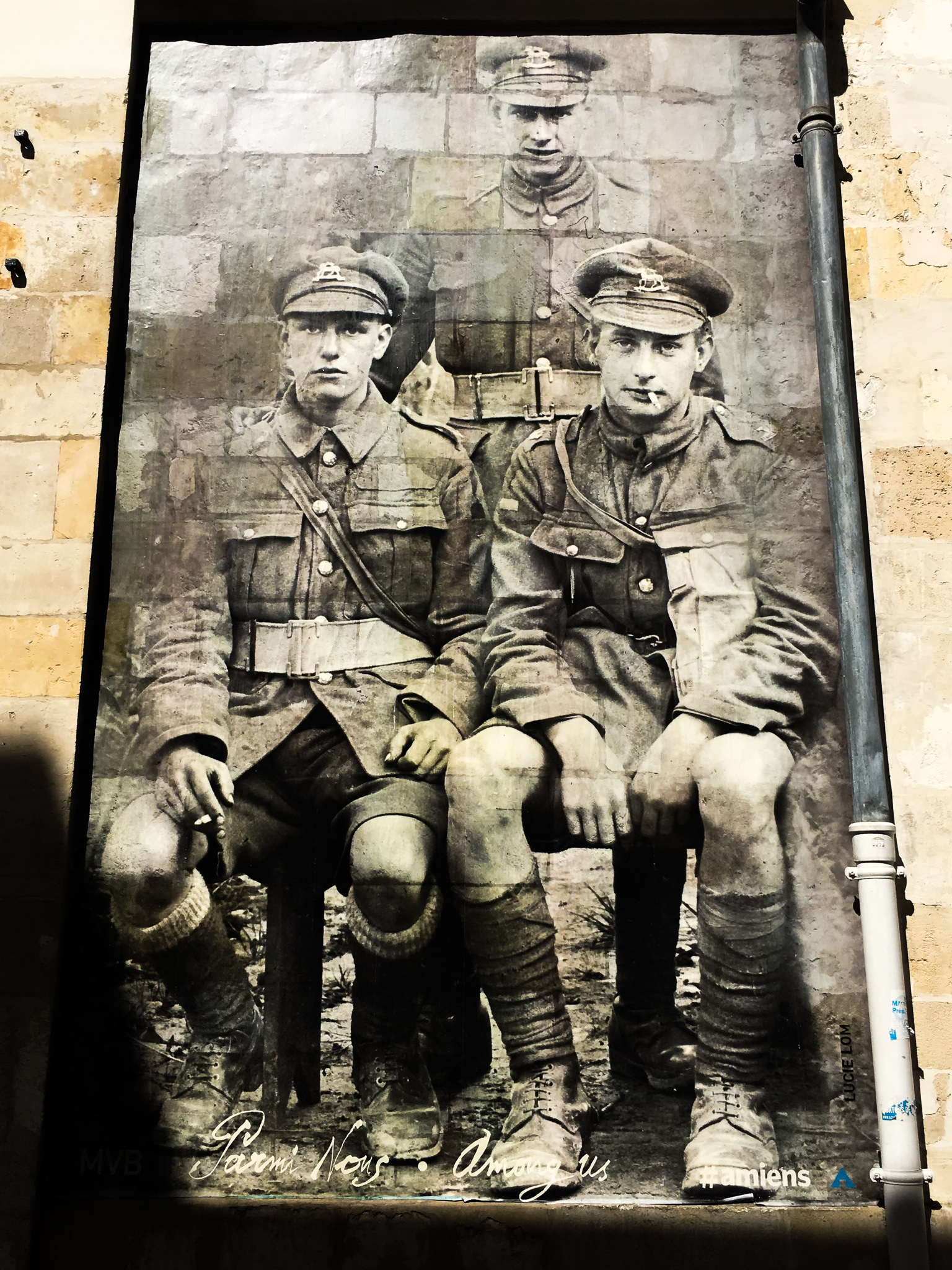 One of many posters around Amiens honoring those who served during the First World War. Photo credit: Todd Barnes