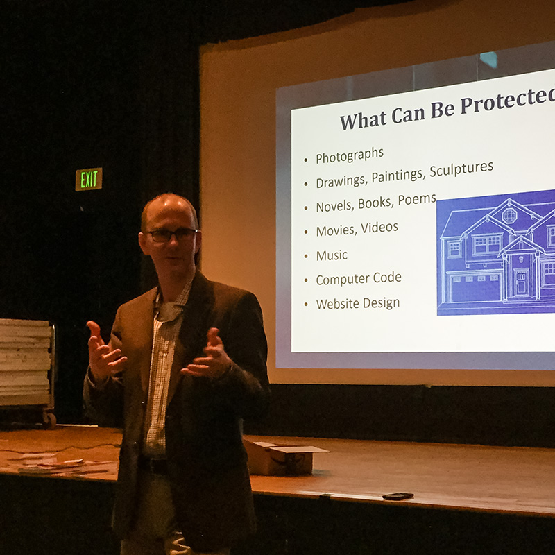 Indianapolis attorney Joe Tragesser presented a comprehensive program on copyright and other legal issues for Photo Venture members.