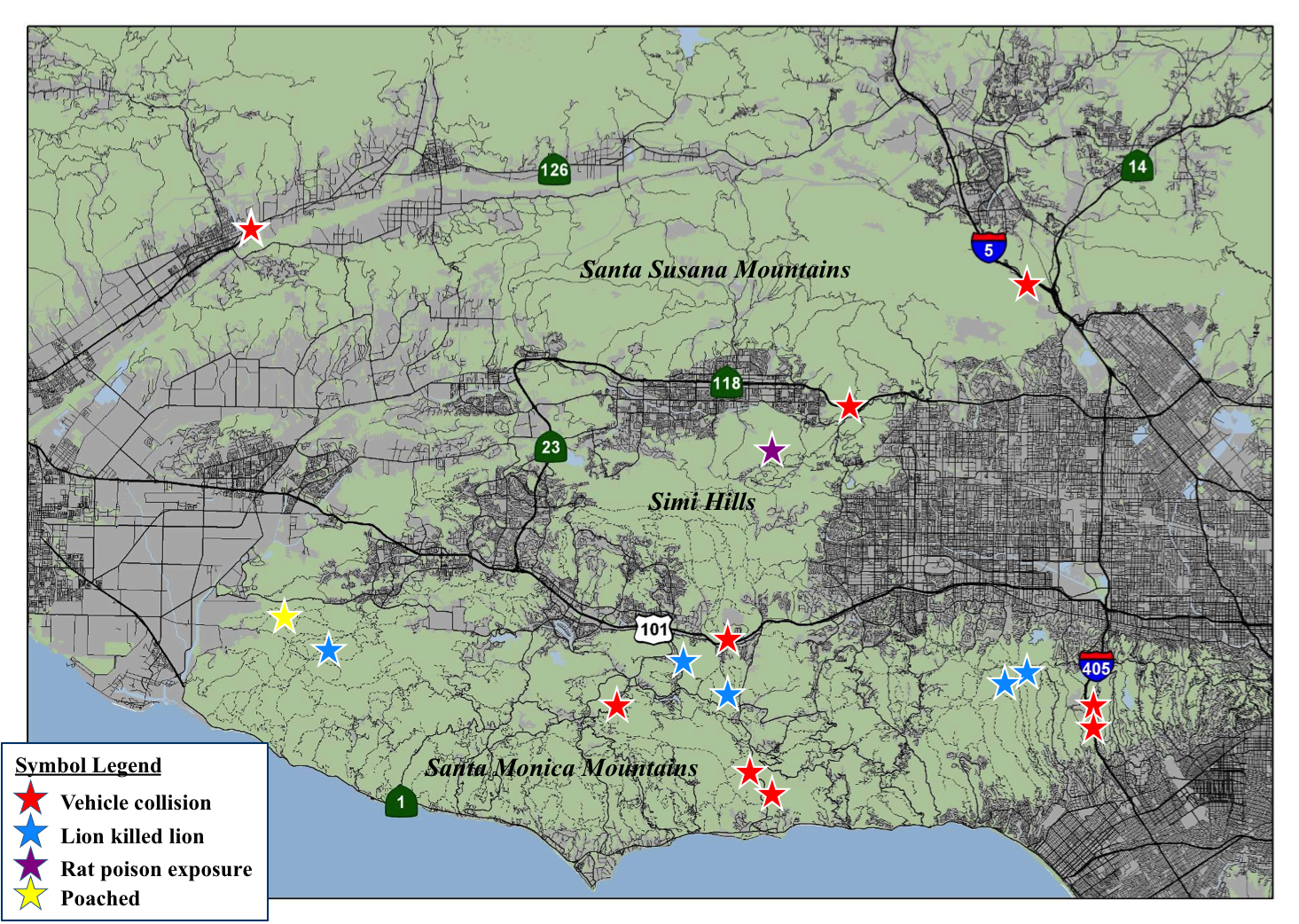 A map of locations for some of the mortalities for mountain lions in the Santa Monica Mountains.