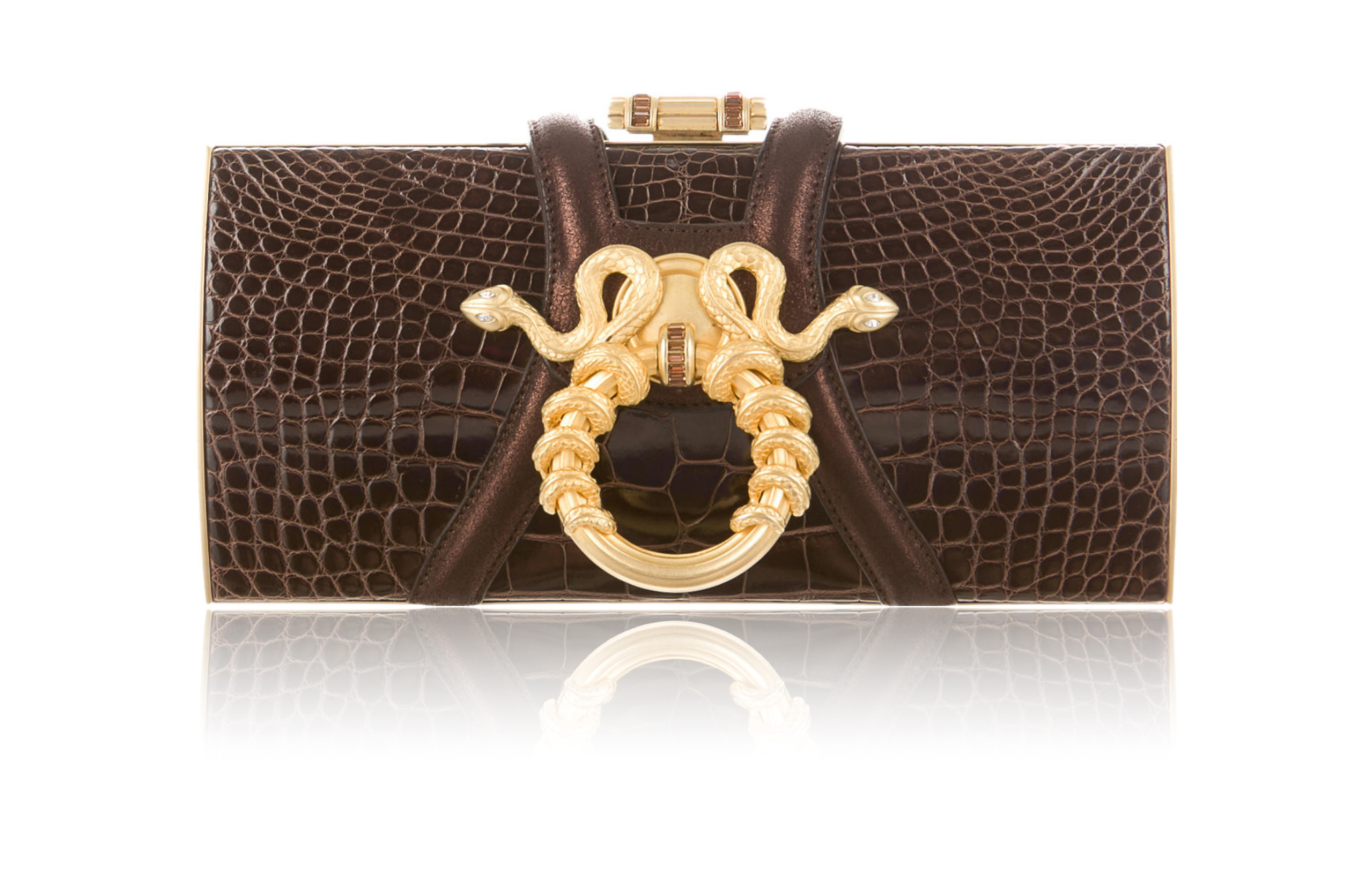 Judith Leiber Chocolate Nile Crocodile