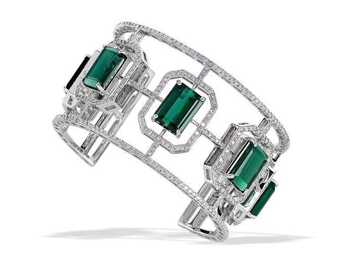 Leiber Fine Jewelry Tourmaline & Diamond Cuff