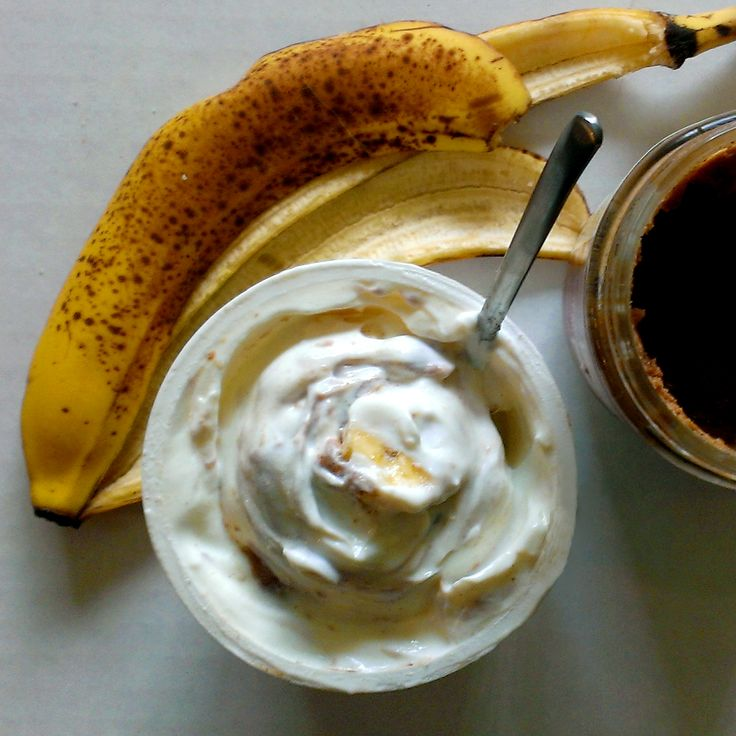 Snack idea! Almond Butter, banana and plain Elli Quark. For more snack ideas visit their Pinterest page!