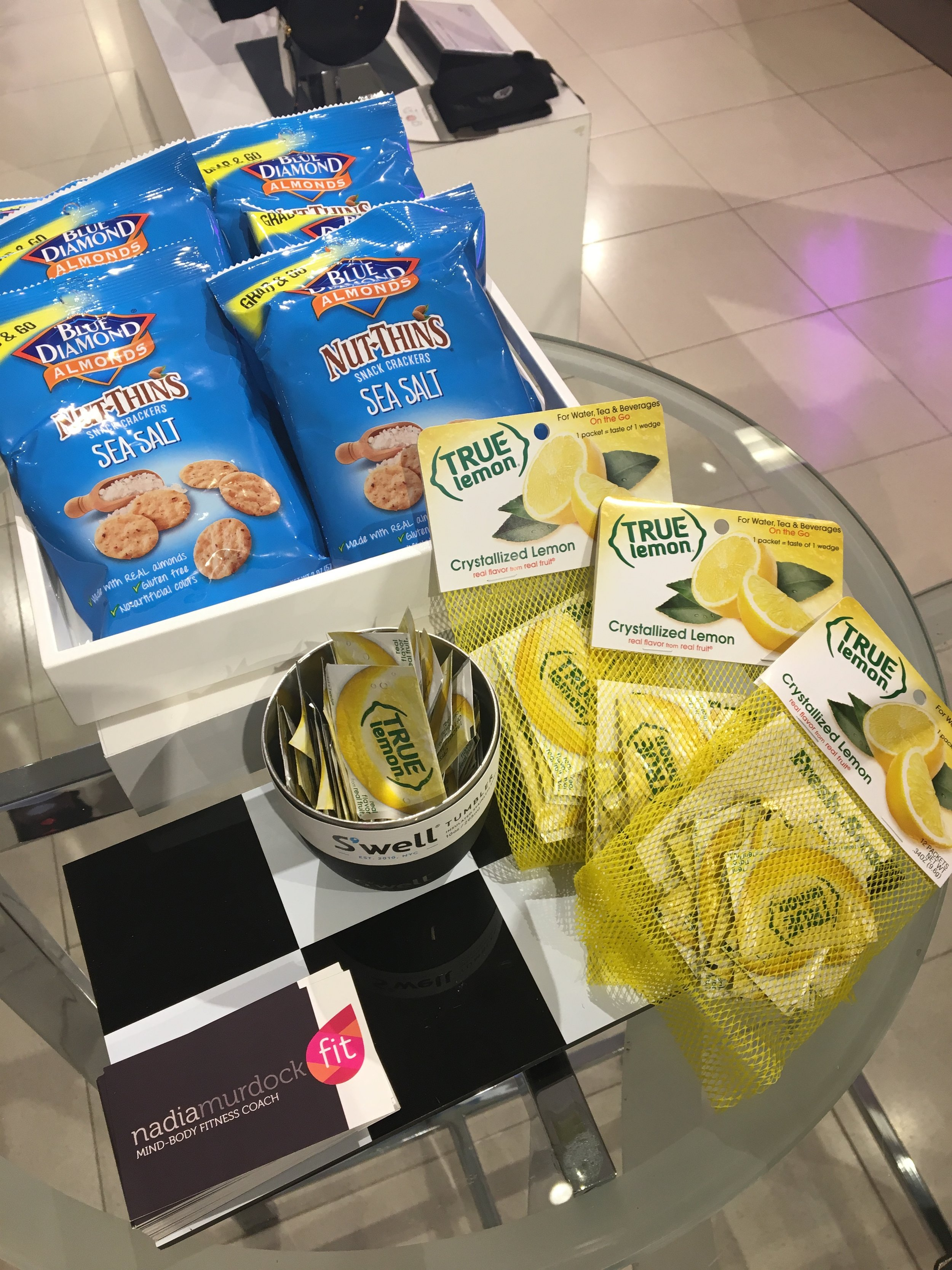 Keep your gym bag filled with healthy options at all times like  True Lemon  for your water and  Blue Diamond  snacks!
