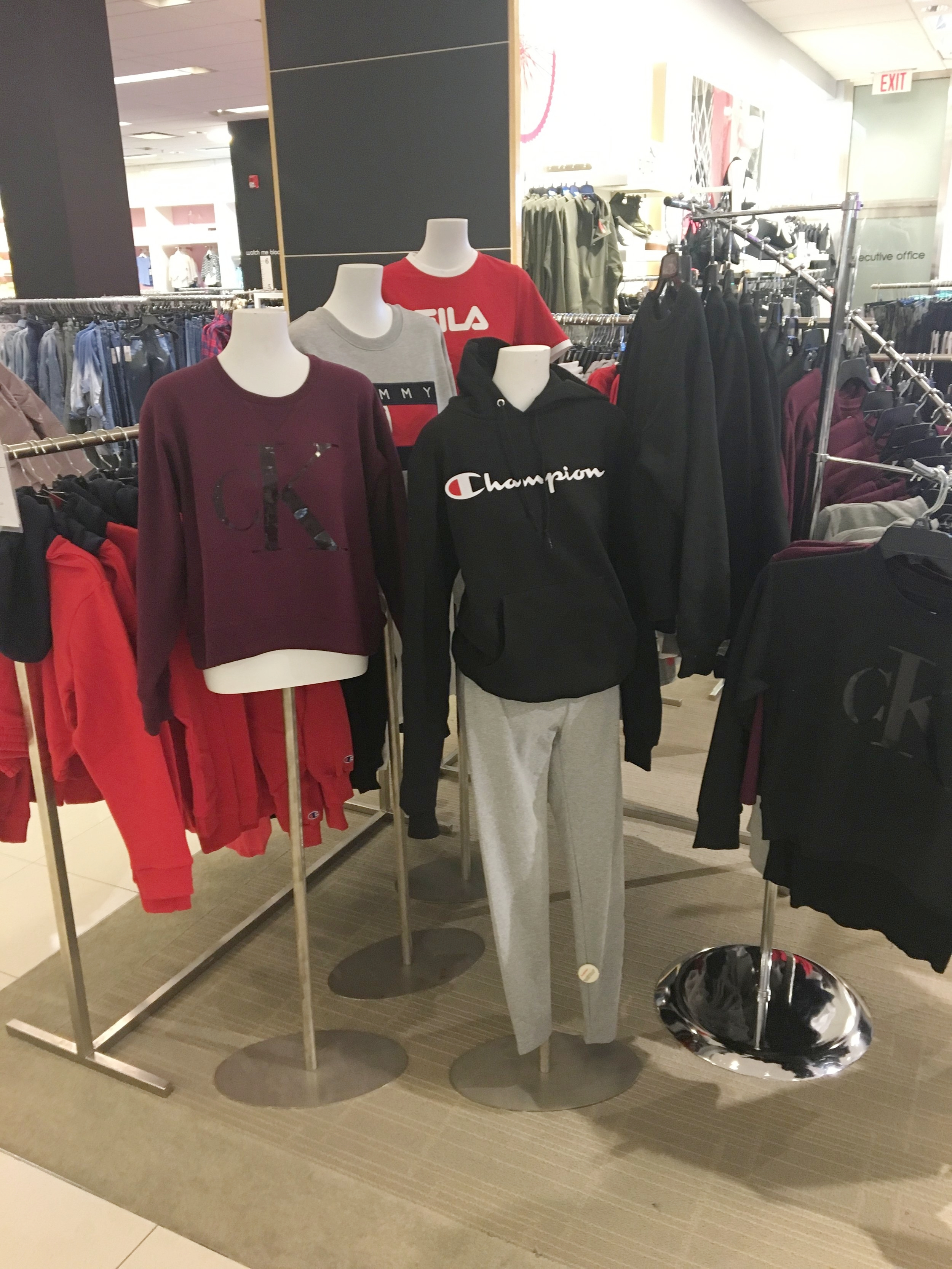Throw back sweatshirts are all the rage! Brands like  Champion ,  CK  and  Tommy Hilfiger  are a hot item.