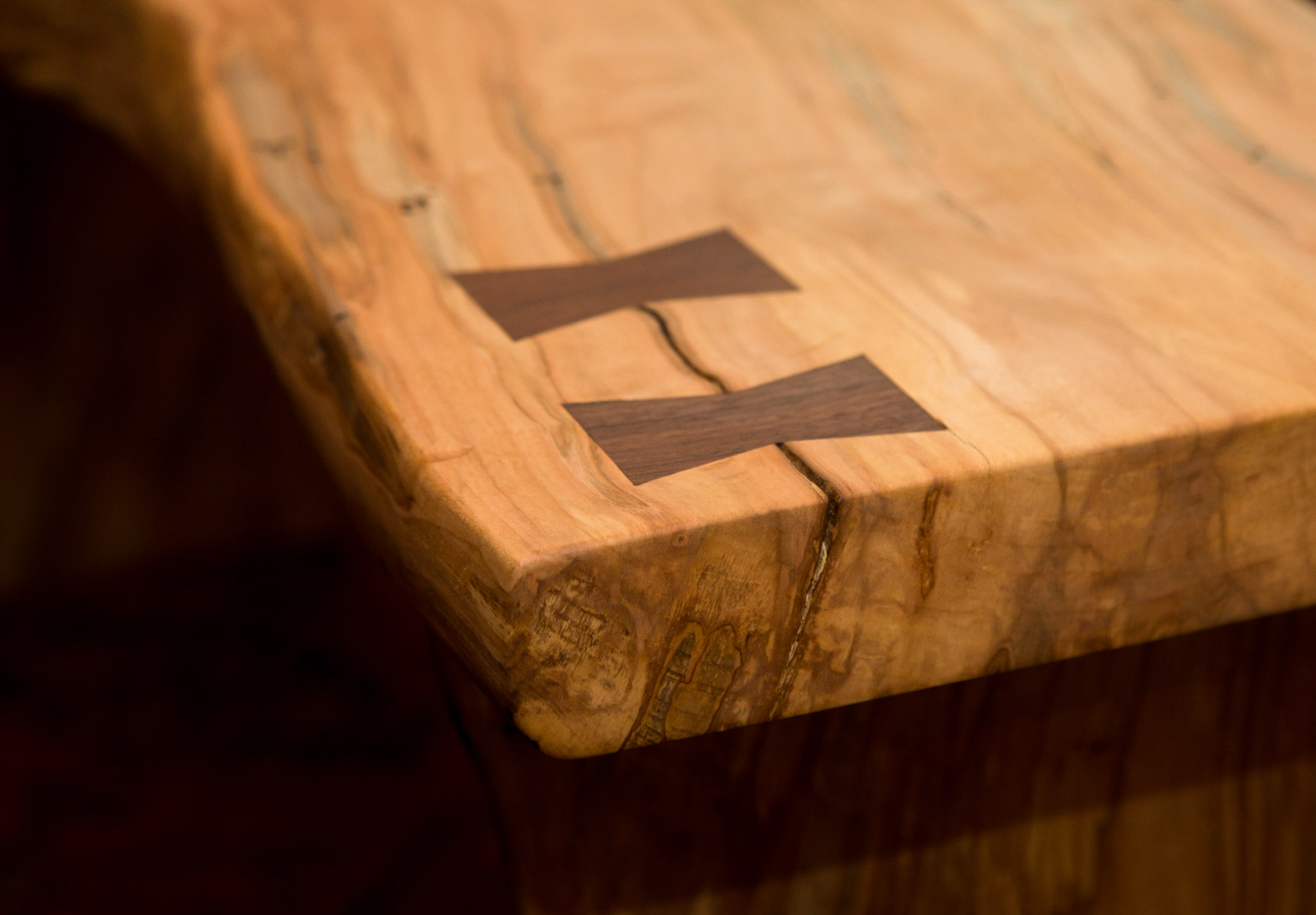Ambrosia Maple Bench with Walnut Bowtie Inlays - Detail