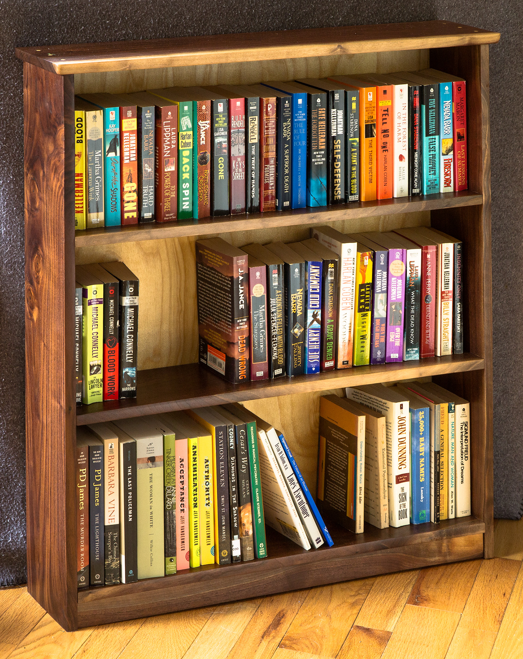 Small Live-Edge Walnut Bookcase