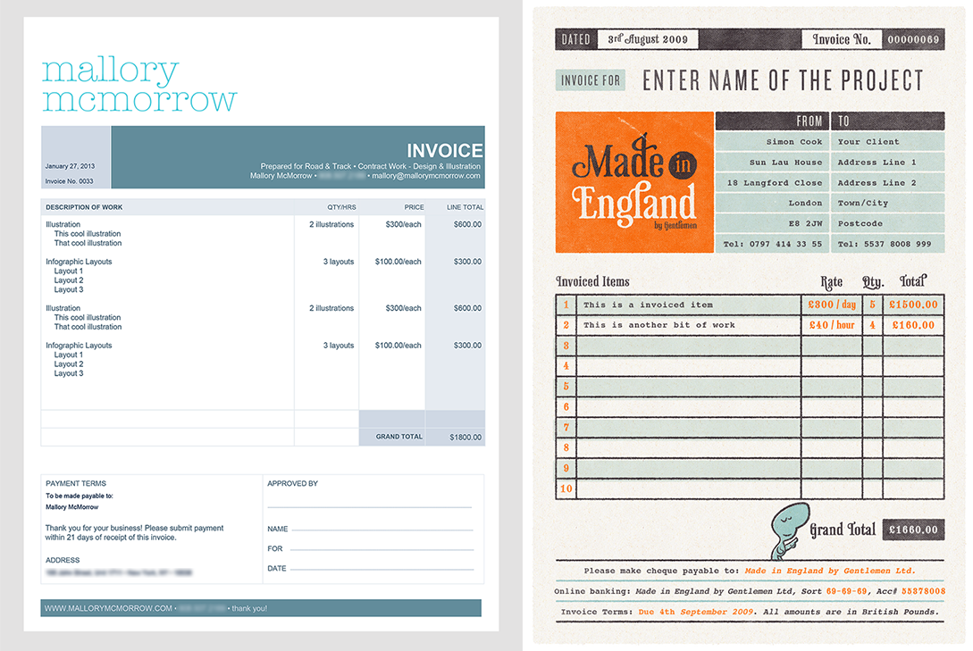LEFT:  my current invoice template  RIGHT:  invoice design by  Made in England