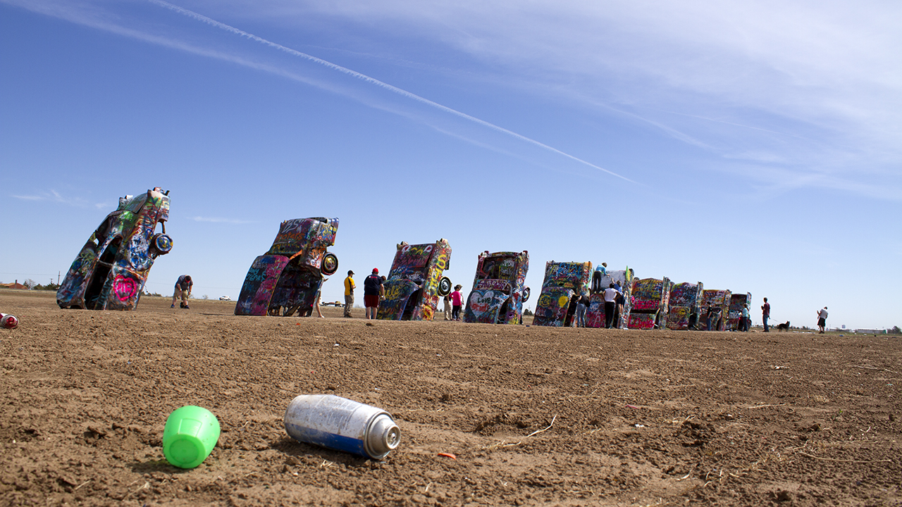 Cadillac Ranch, one of two fine vehicle-in-ground art installations in Amarillo