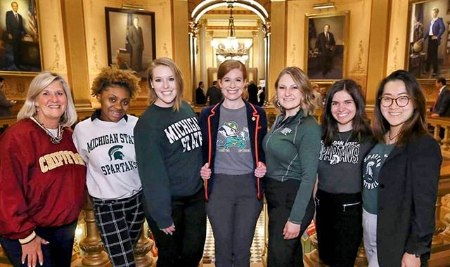Our entire team celebrating #DecisionDay by donning our alma mater  gear at the Capitol. Yes, there are a lot of Spartans, but I'm forever Irish. ☘️ Here's to all of the high schoolers who applied to college making the decision this month on where they're headed next!  #goirish #mileg #thefutureisfemale