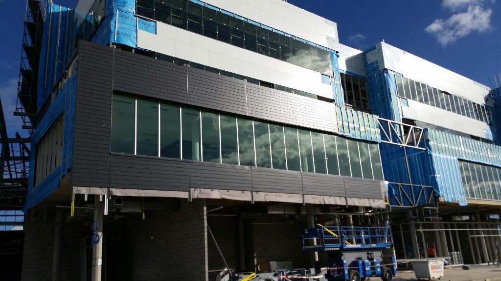 North Facade PVDF Aluminium Express Panels being installed