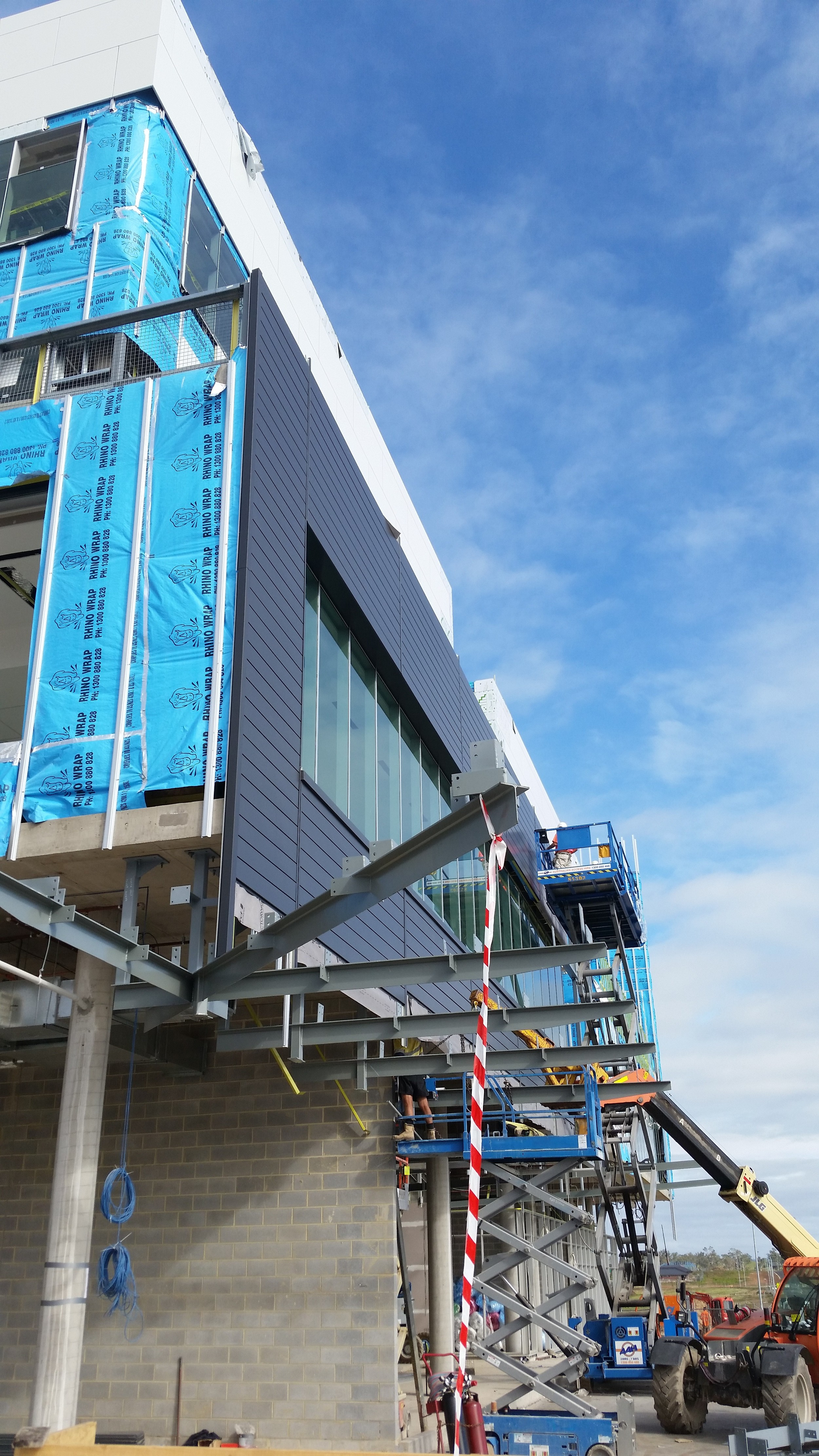 Work in progress - installing the Express Panels on the North Elevation