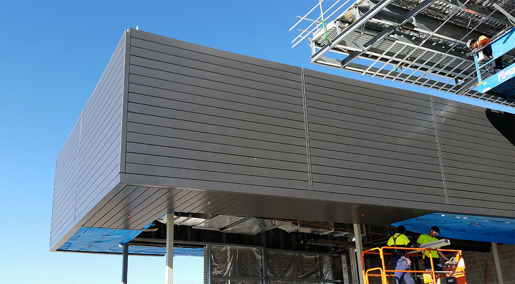 The Charcoal Black Naturel PVDF Aluminium Cladding on the North Entry to the Shopping Centre