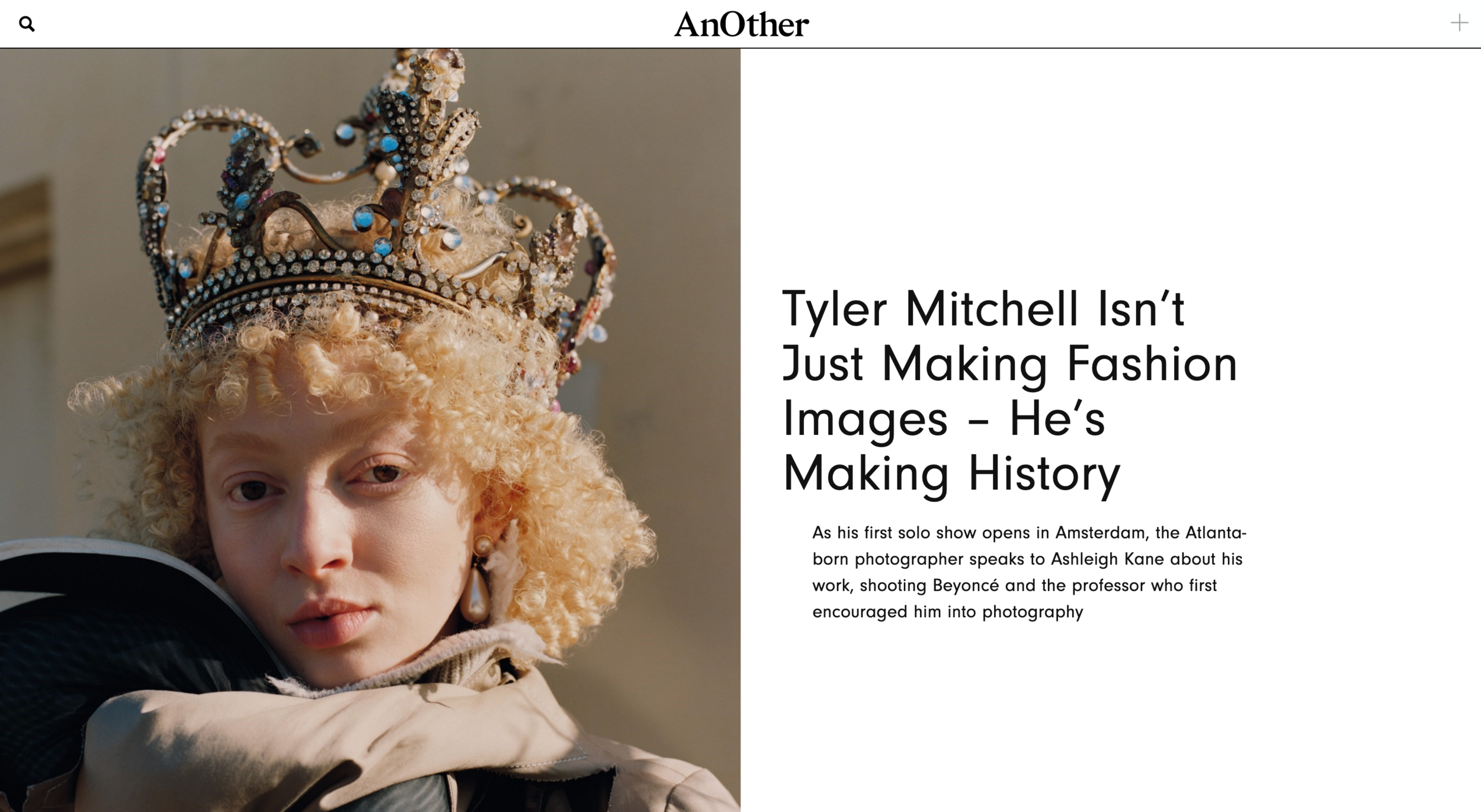 Ashleigh Kane interviews Tyler Mitchell for  AnOther Magazine .  Read the full article .