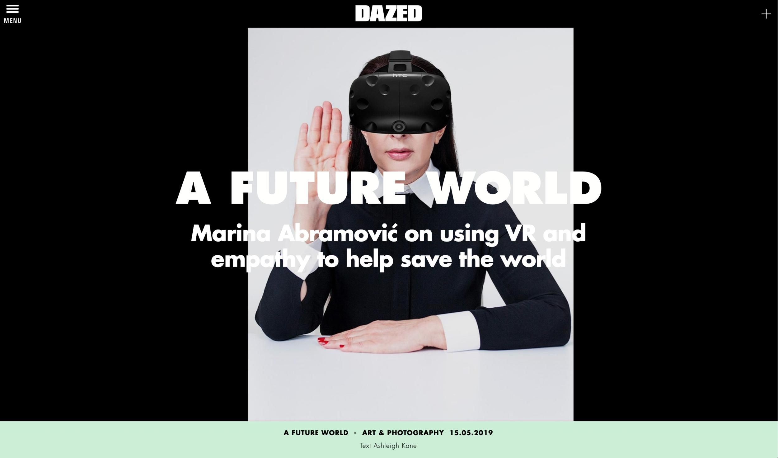 Ashleigh Kane interviews Marina Abramović for  Dazed .  Read the full article .